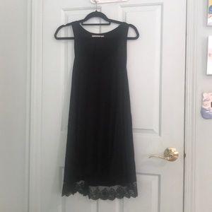 Black Cotton and Lace Dress